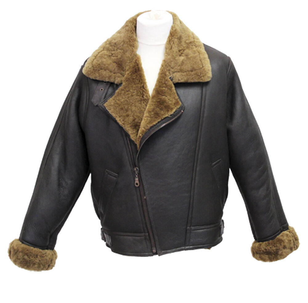 Shearling leather aviator jacket