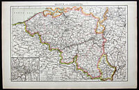 1895 Times Atlas map -  Belgium & Luxembourg - First edition