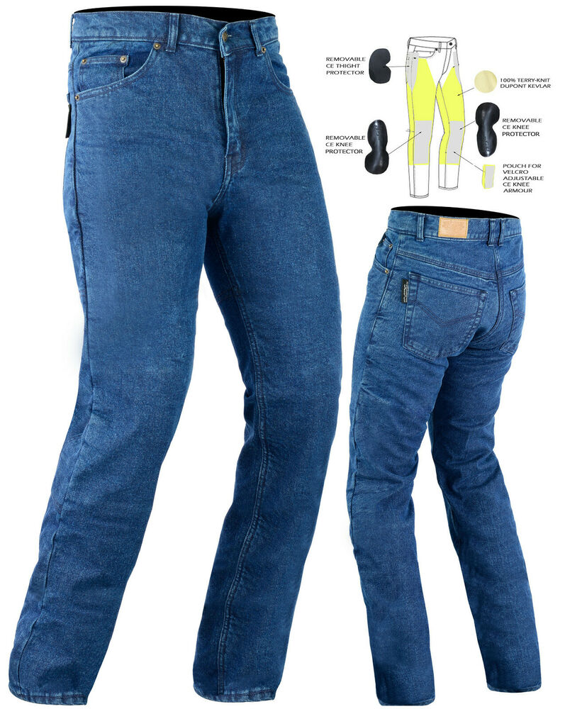 NEW MENS WOMENS MOTORCYCLE JEANS FULLY REINFORCED WITH DuPontTM KEVLARR ARAMID