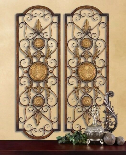 Set Of 2 Tuscan Mediterranean Wall Grilles Panels 3 1 2