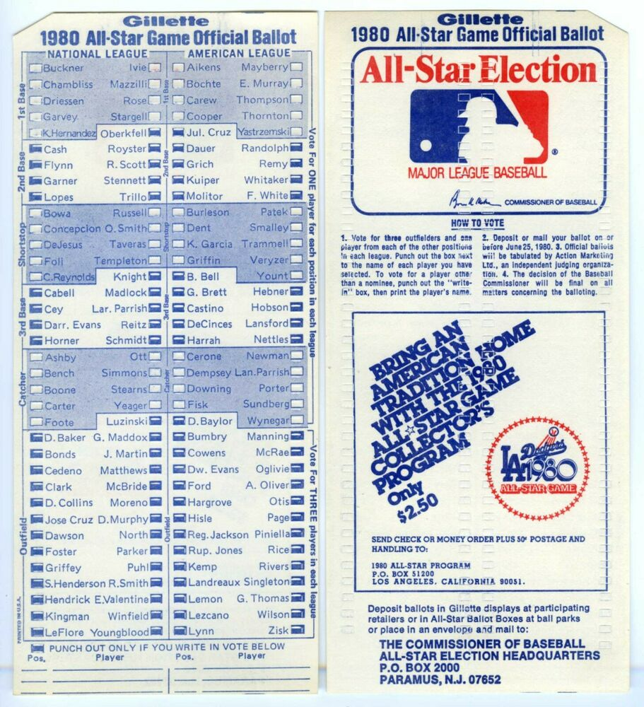 Stargazing Wishes In Anaheim Ca: 1980 MLB ALL-STAR BASEBALL GAME UNUSED FAN BALLOT At LOS