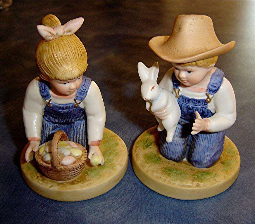 Denim days easter time homco home interior 1521 rabbit Home interiors figurines homco