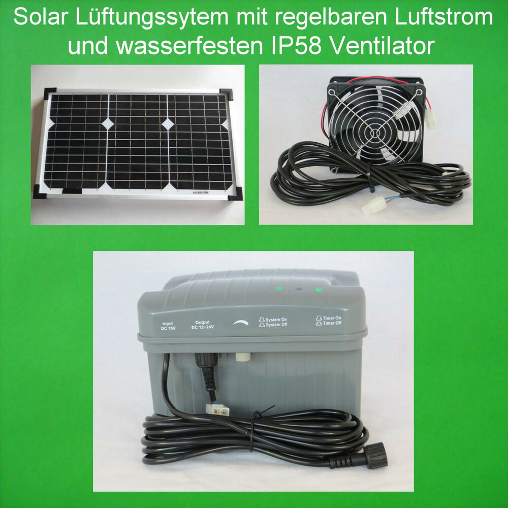 20w solarl fter solar solarventilator ventilator akku batterie gew chshaus neu ebay. Black Bedroom Furniture Sets. Home Design Ideas