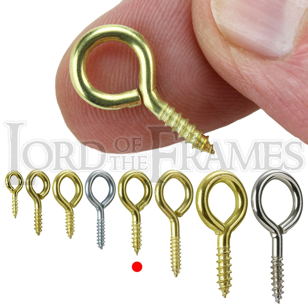 100 x screw eyes brass plated 20x2 picture framing frame for S hooks for crafts