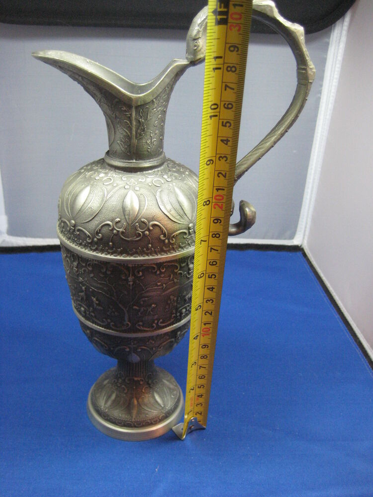 "Huge 12"" Antique German Pewter Embossed Wine/Water Flask ..."