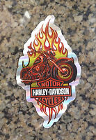 New Harley Davidson Licensed Decal Biker Motorcycle Tank Sticker Metallic Flames