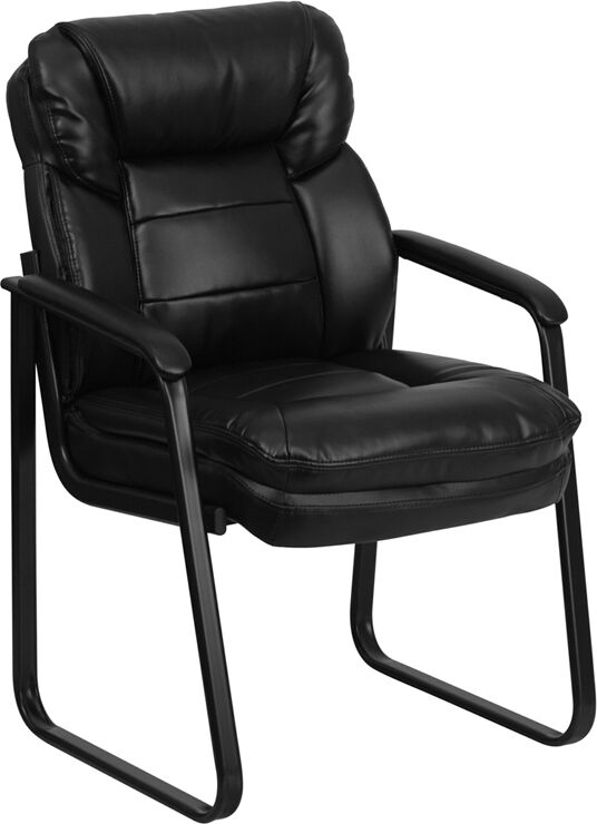 black leather sled base computer office desk chair ebay