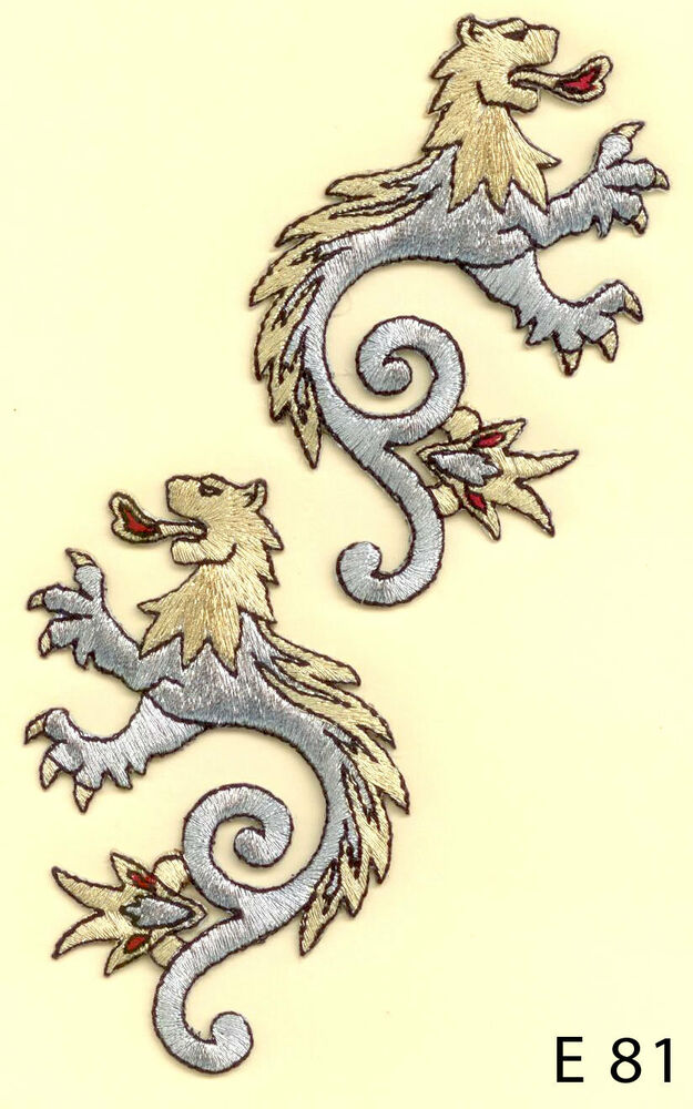 2PC~ LION DRAGON, COAT OF ARMS~IRON ON EMBROIDERY APPLIQUE ...
