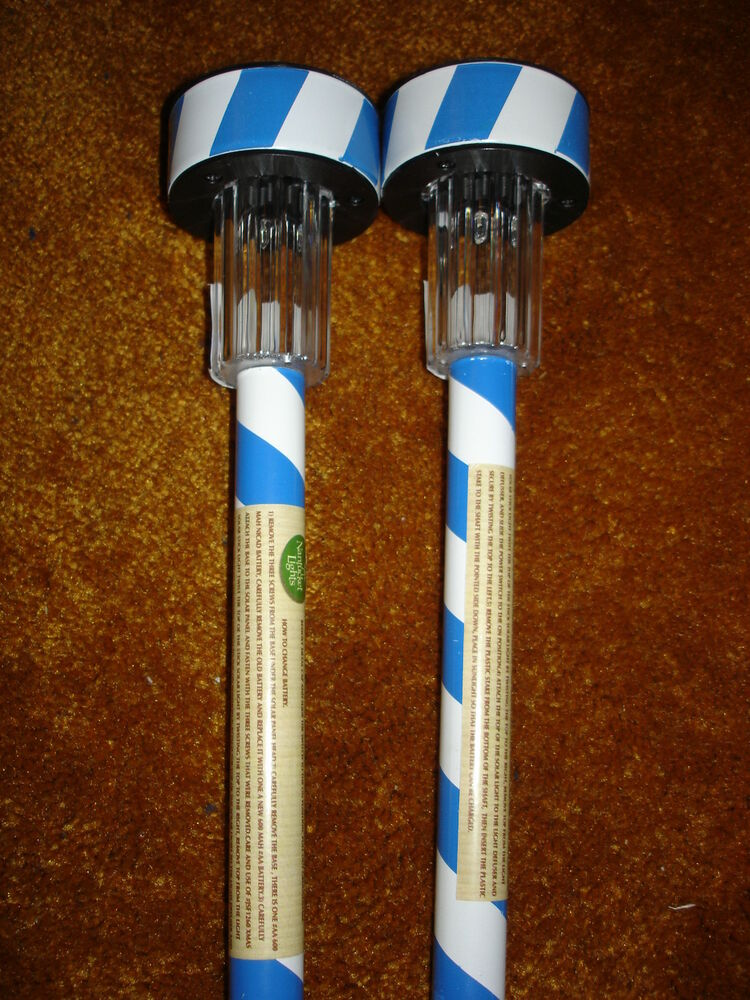 Solar Candy Cane Stick Lights Blue And White Lot Of 2 Ebay