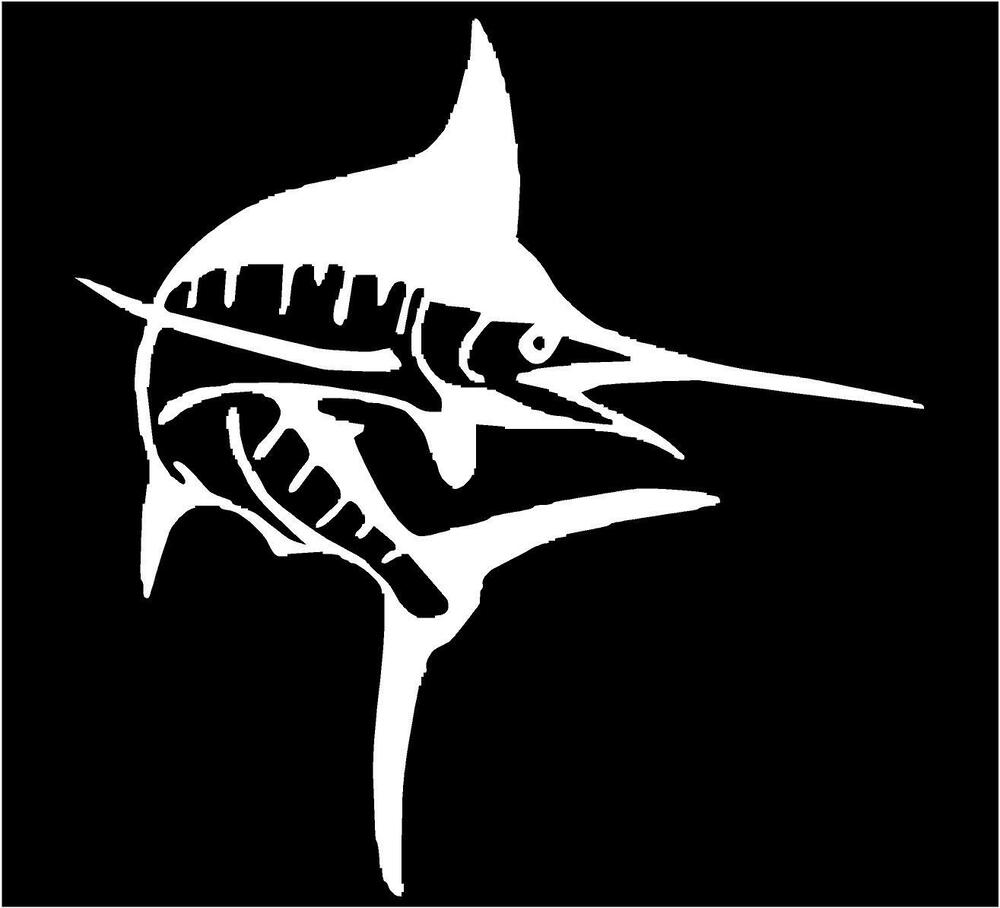 White vinyl decal marlin fish salt water deep sea for Saltwater fishing decals
