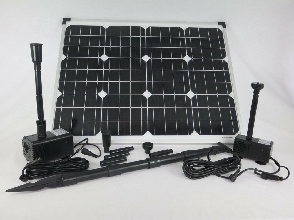 50 watt 2x solar teichpumpe tauchpumpe solarpumpe pumpenset bachlaufpumpe pumpe ebay. Black Bedroom Furniture Sets. Home Design Ideas
