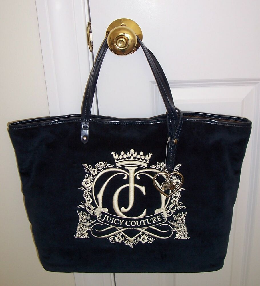 7ccb5a7816df Details about NWT Juicy Couture ROYAL CROWN CREST Velour Tote Bag REGAL  Blue YHRU2628