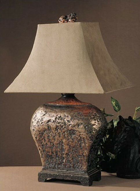 Tuscan Rustic Old World Bronze Amp Suede Table Lamp Ebay