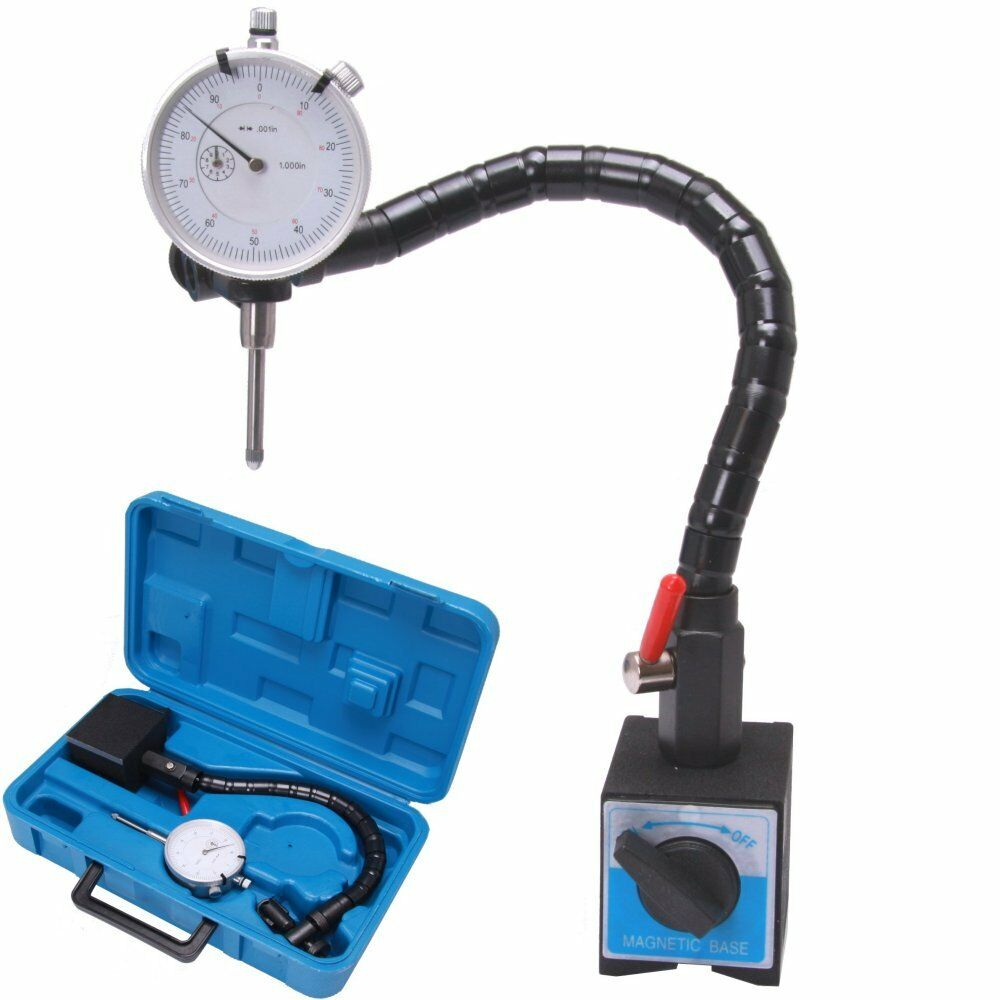 Hydraulic Arm With Magnetic Base Indicator : Magnetic base flexible flex arm quot dial indicator case