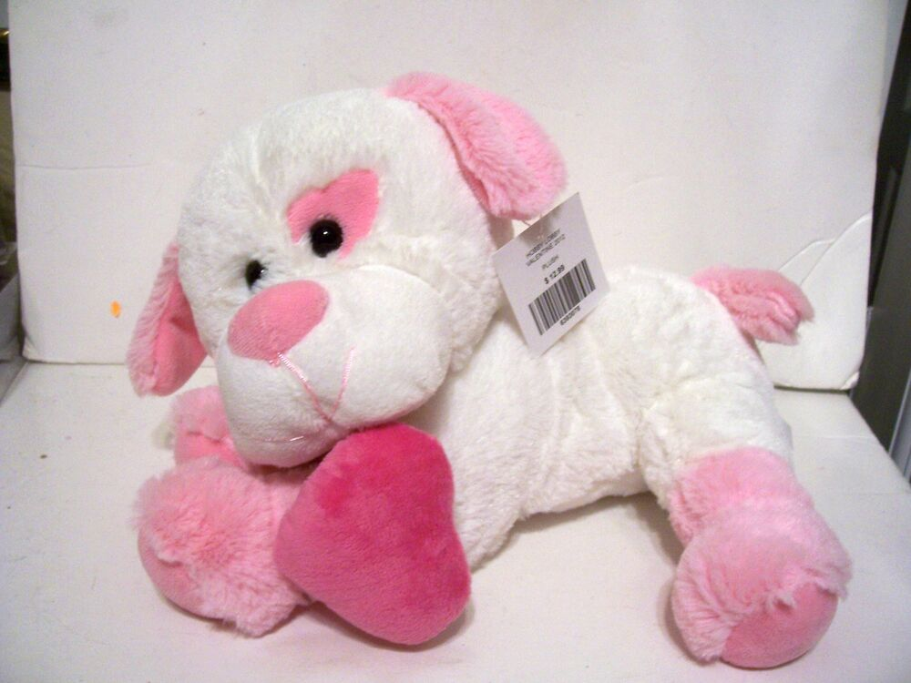 Valentine S For Dogs Toys : Plush cute white pink toy dog valentines day christmas