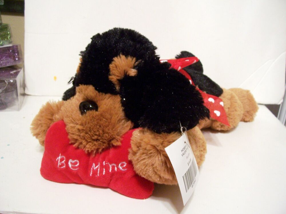 Dog Valentine Toys : Plush cute brown black toy dog valentines day christmas