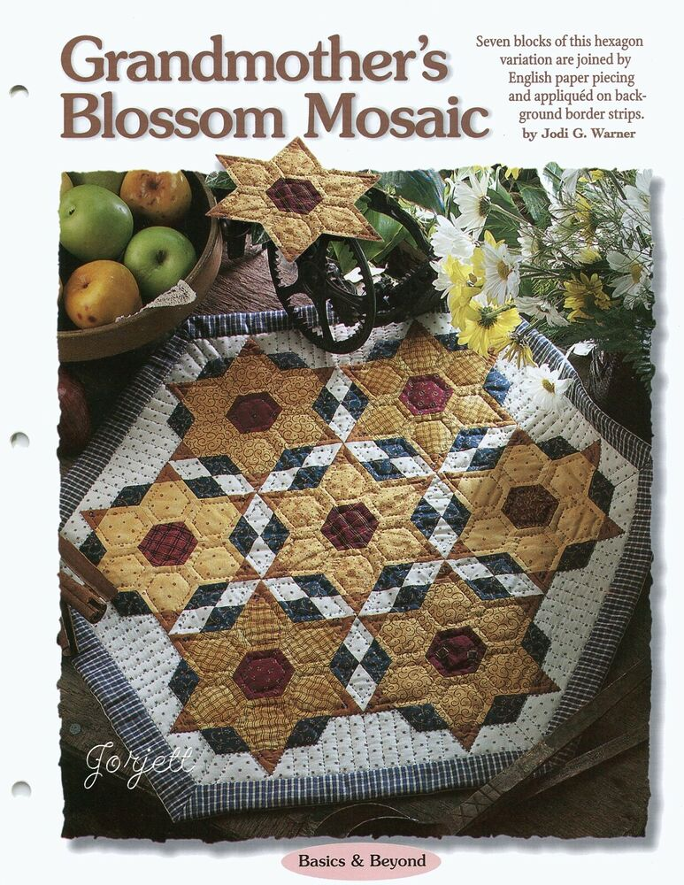 grandmother 39 s blossom mosaic table topper quilt sewing pattern templates ebay. Black Bedroom Furniture Sets. Home Design Ideas