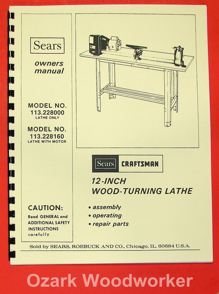 craftsman 113 228000   113 228160 wood lathe owner s parts User Manual Guide Standard Operating Manual