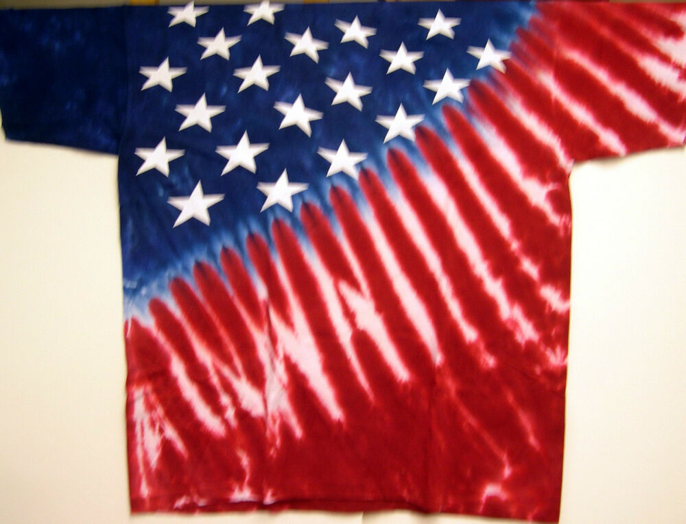 Usa stars stripes red white blue tie dye t shirt for How to dye a shirt red