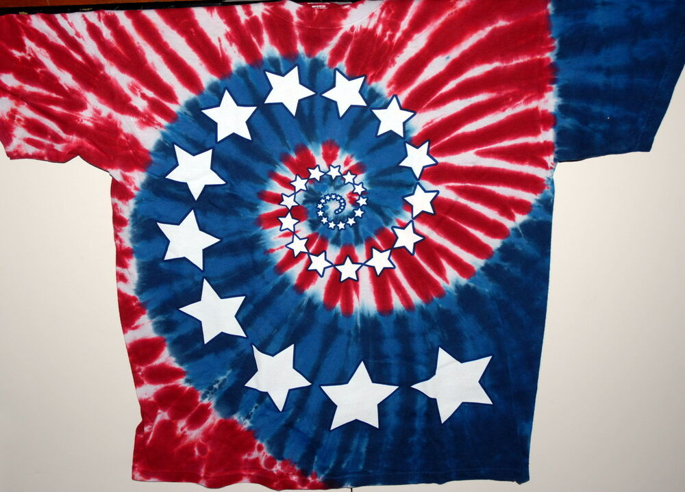 Usa stars stripes spiral red white blue tie dye t for How to dye a shirt red