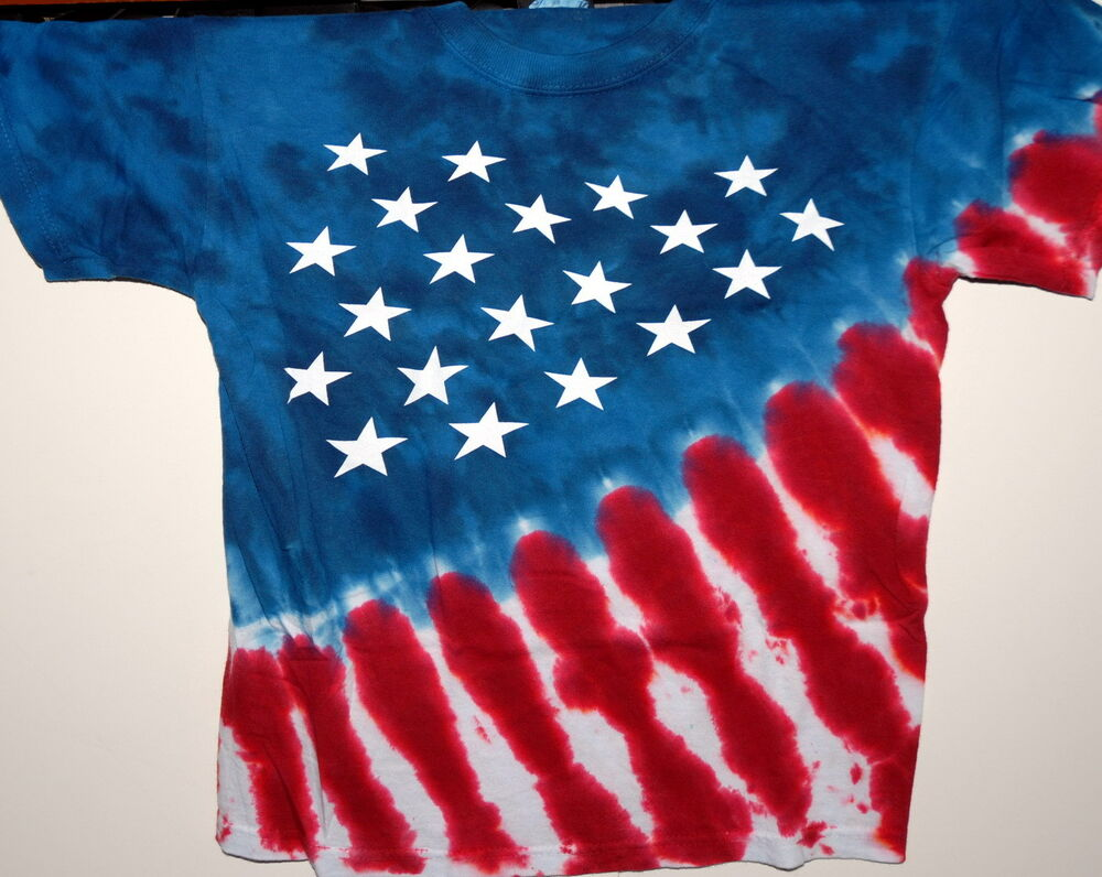 Usa Stars Stripes Red White Blue Youth Tie Dye T