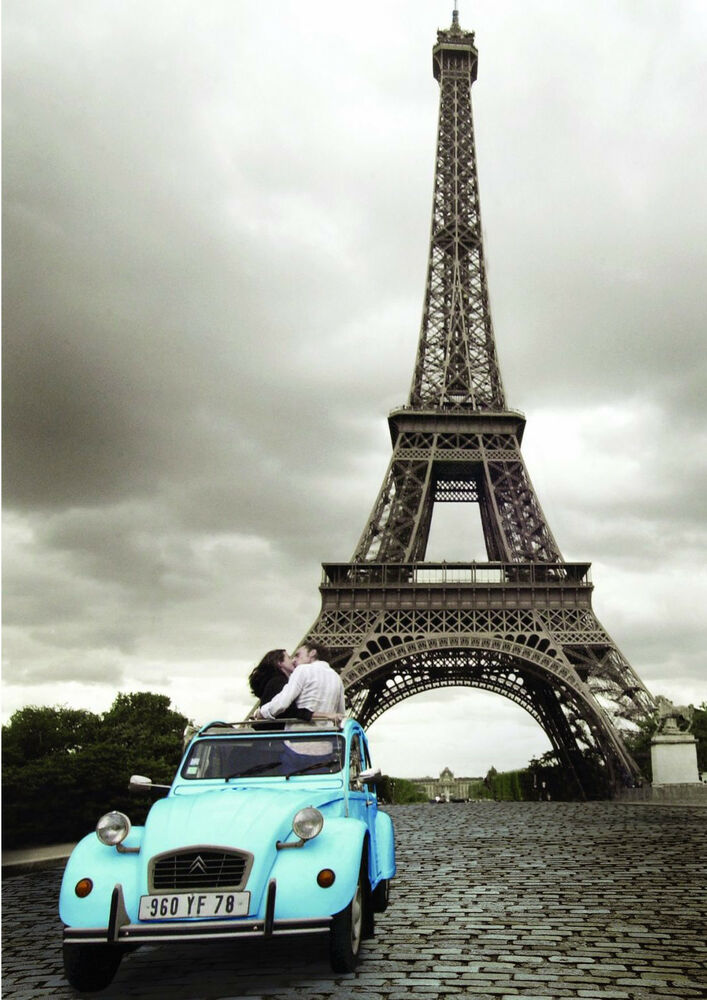 paris eiffle tower blue car romance art poster print 24x36 ebay. Black Bedroom Furniture Sets. Home Design Ideas