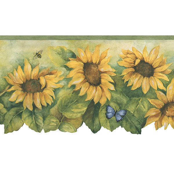 Sunflower With Light Green Edge Wallpaper Border Bg71361dc