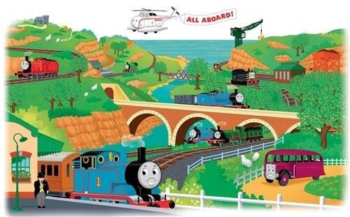 thomas tank engine friends wall stickers mural train. Black Bedroom Furniture Sets. Home Design Ideas