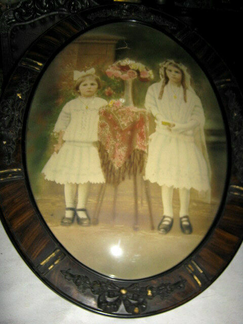 Antique Girl Children Convex Glass Wood Art Bow Frame