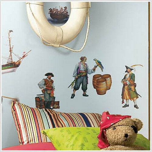 Pirates Kids Wall Decal: PIRATES Wall Stickers 17 Decals Ship Treasure Chest Parakeets Room Decor AHOY