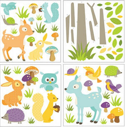 baby woodland animals wall stickers 71 colorful decals nursery decor forest deer ebay. Black Bedroom Furniture Sets. Home Design Ideas