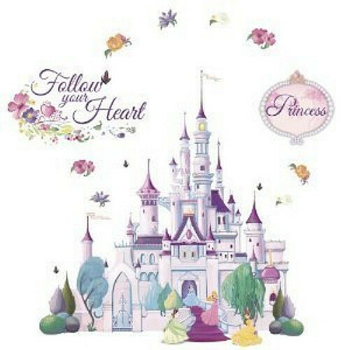 Disney princess castle wall stickers mural glitter 23 for Disney princess wall mural tesco