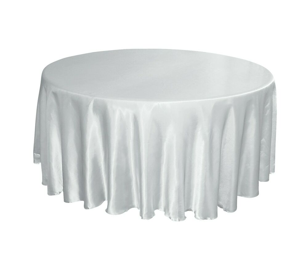 White satin 120 round tablecloths wedding banquet ebay for 120 inch round table cloths