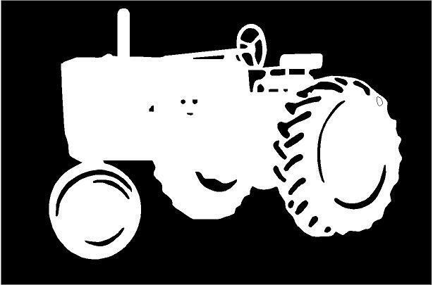 White Tractor Decals : White vinyl decal tractor farm country fun sticker