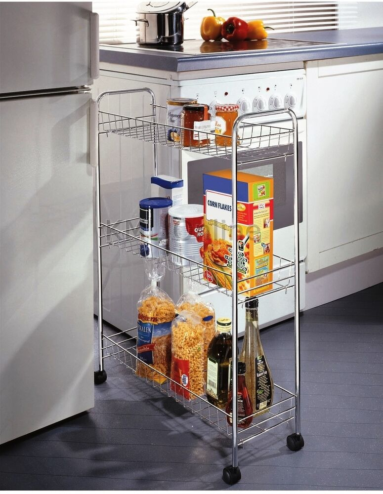 storage racks kitchen new 3 tier chrome kitchen slim vegetable fruit food 2568