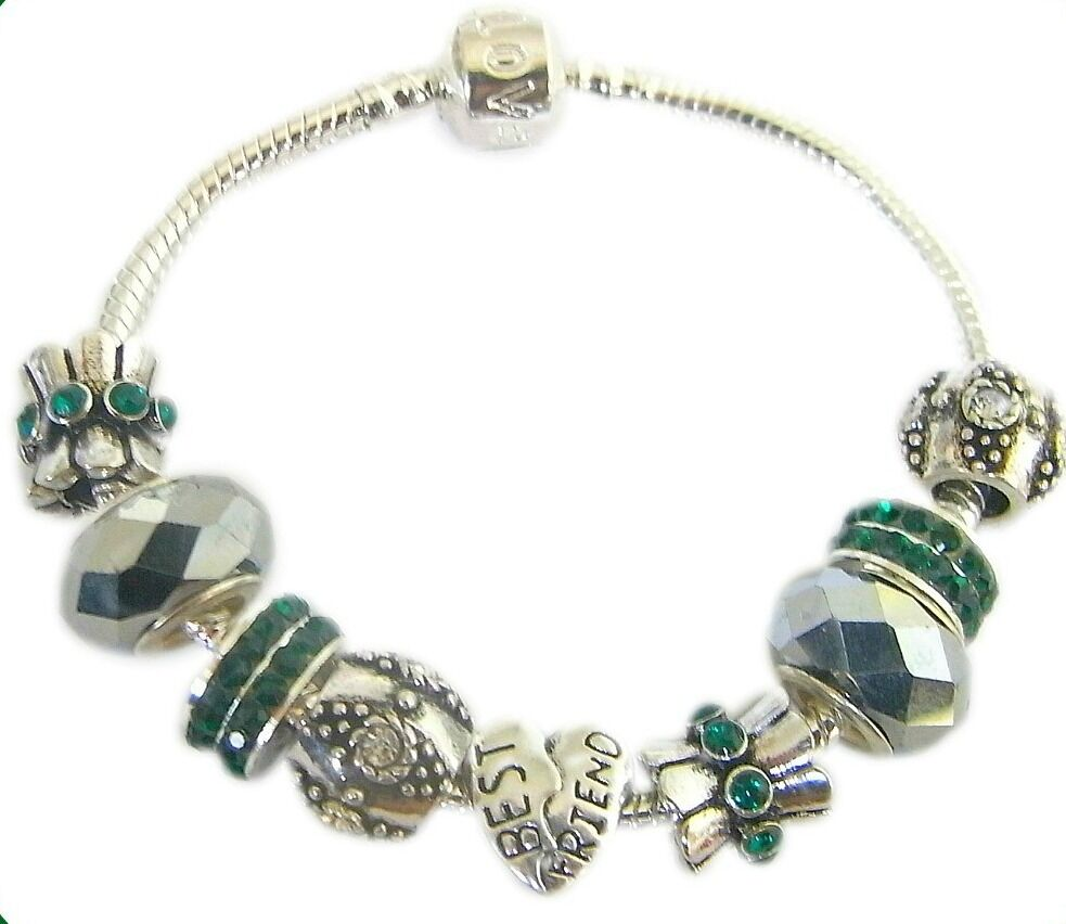 18th Birthday Charm Bracelet: PERSONALISE EMERALD GREEN & SILVER CHARM BRACELET BEAD