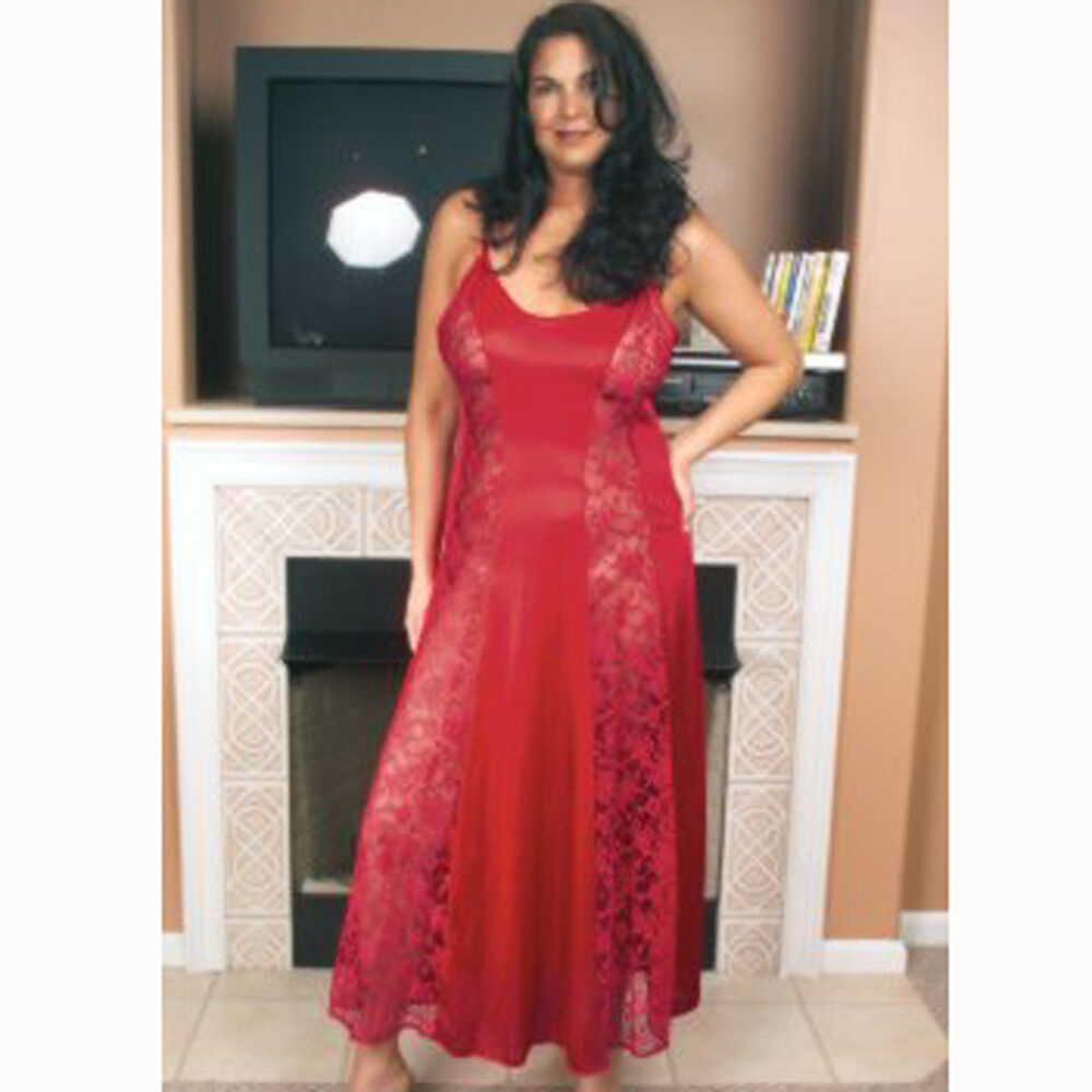 Plus size lingerie sizes 1x 2x 3x 4x red long gown with lace panels