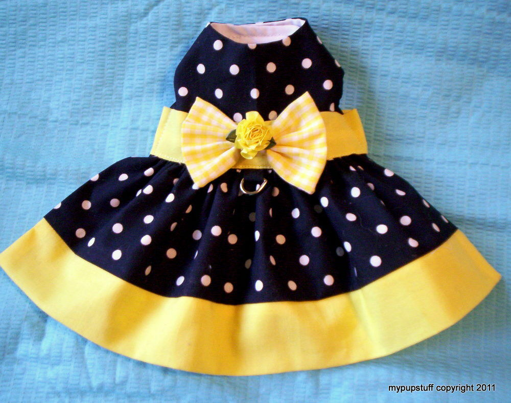 Yellow Banded Polka Dot Dog Harness Dress Xxxs Xxs Xs S M