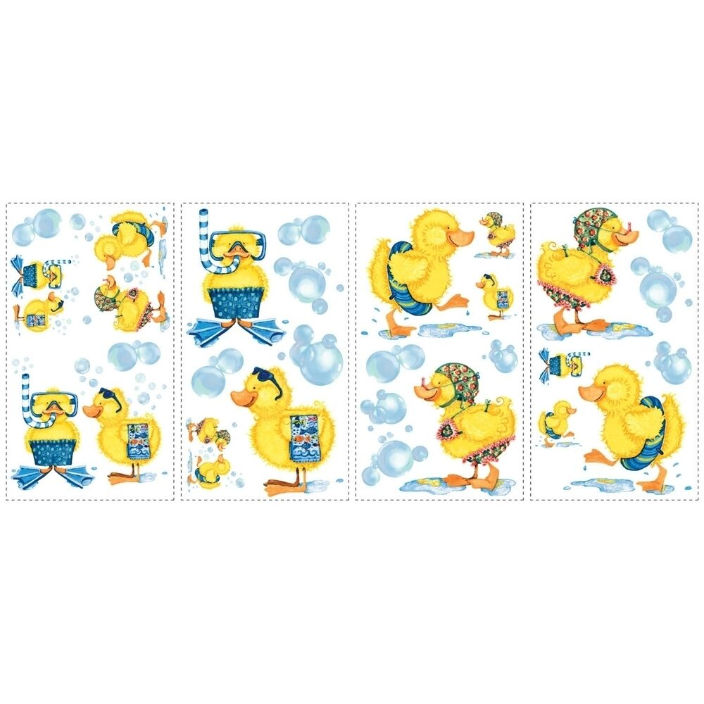 Ducks and bubbles wall stickers 29 decals rubber duckies for Bathroom decor stickers
