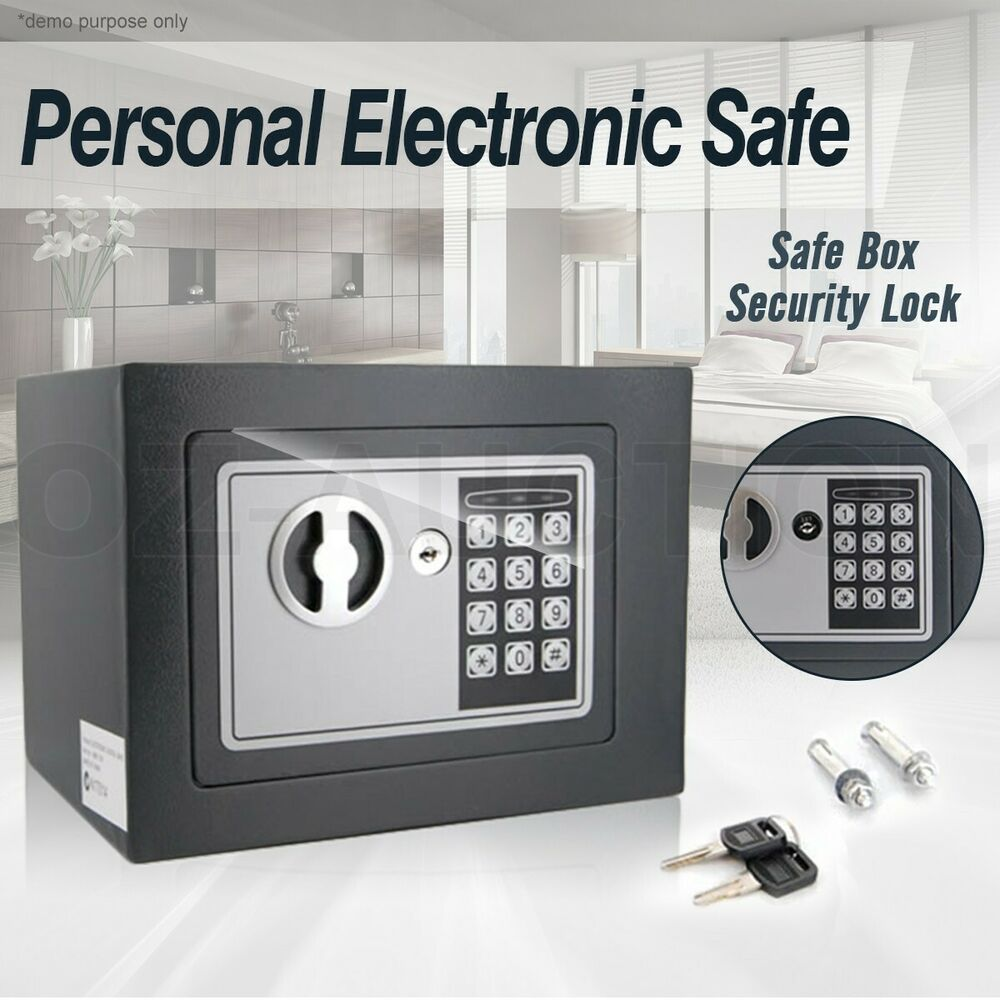 personal small digital electronic safe box keypad lock home office security grey ebay. Black Bedroom Furniture Sets. Home Design Ideas