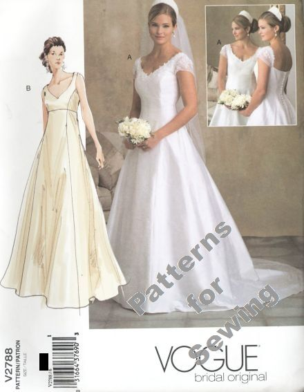 Pattern sewing vogue woman bridal wedding gown dress sz 18 for Sewing patterns wedding dress