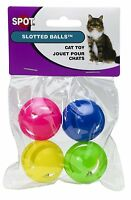 ETHICAL SPOT CAT SLOTTED BALLS 4 PACK CAT TOY ASSORTED COLORS FREE SHIP IN USA