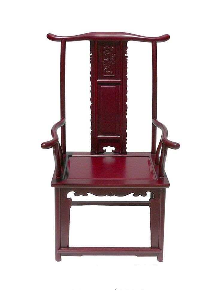 Dark red chinese ming style rosewood yoke back arm chair