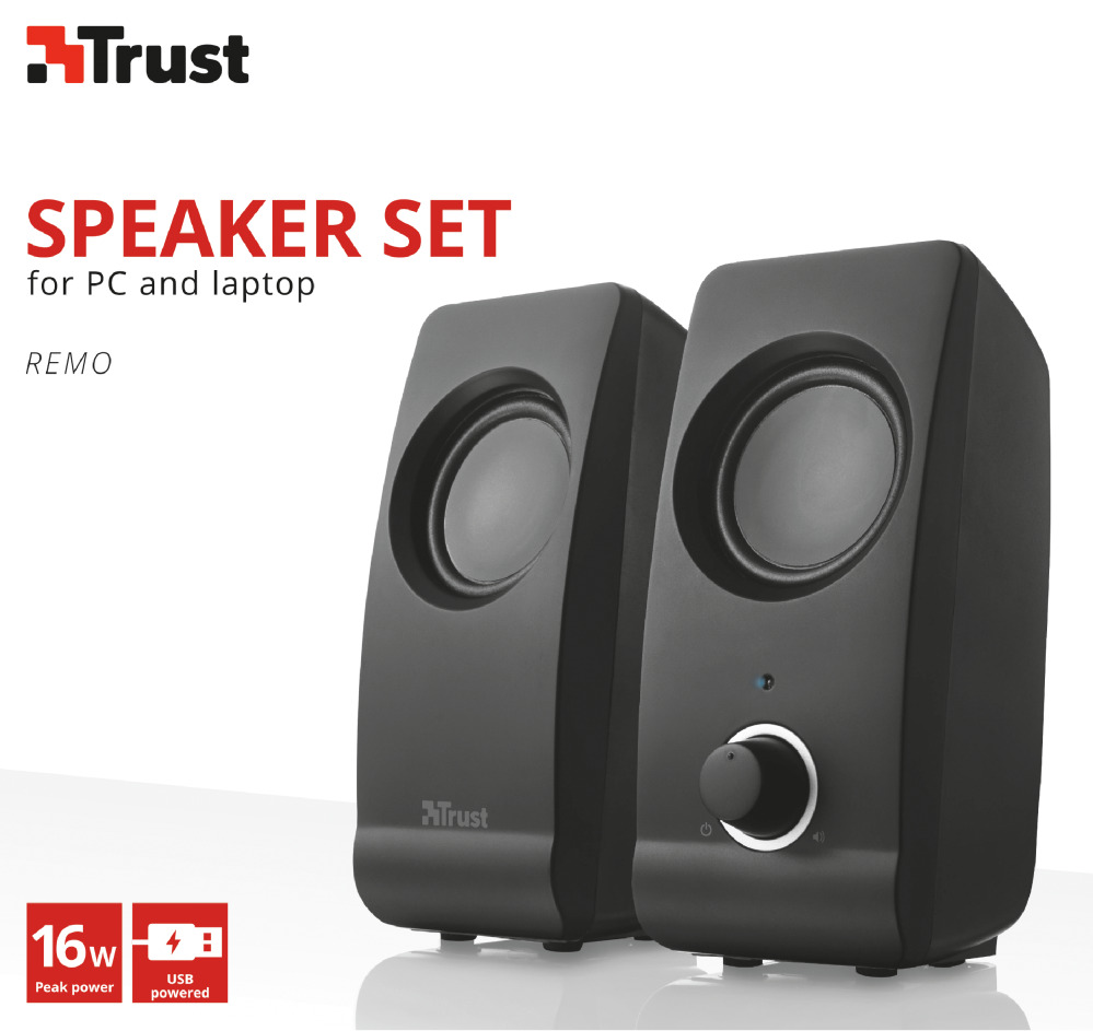 new trust 2 0 remo 16w usb powered pc computer speaker set 8713439175950 ebay