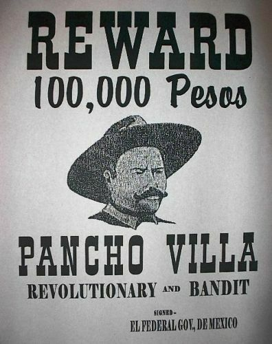 "(058) OLD WEST OUTLAW PANCHO VILLA MEXICAN BANDIT PESOS REWARD POSTER 11""x14"" 