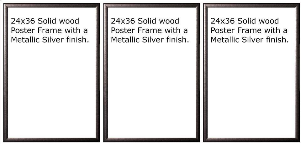 three 3 24x36 wood silver finish poster frame 36 x 24 ebay. Black Bedroom Furniture Sets. Home Design Ideas