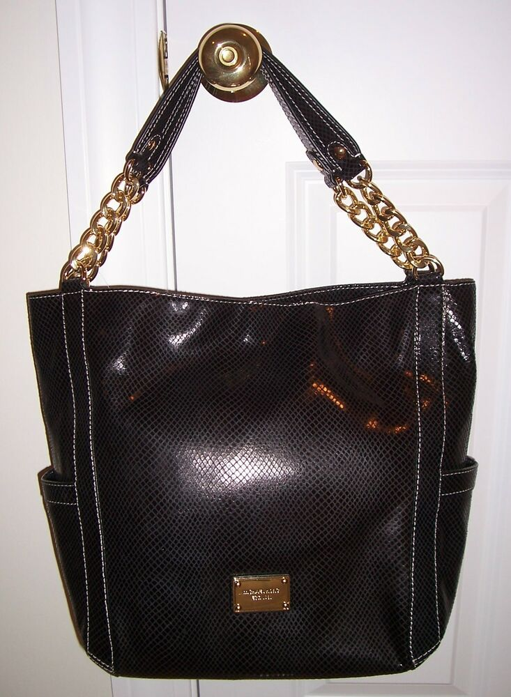 2e1204d91c32 NWT Michael Kors DELANCY DELANCEY Large Shoulder Tote Python Emb Leather  Black | eBay