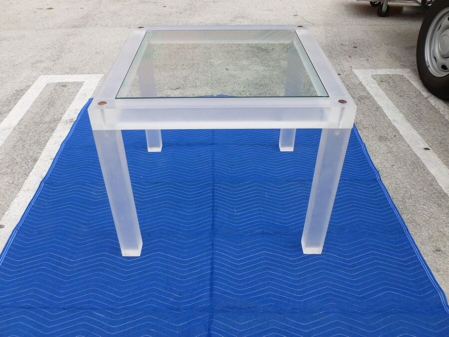 Merveilleux 70u0027S MOD DESIGNER SPACE AGE THICK LUCITE CARD TABLE WITH GLASS TOP   EBay