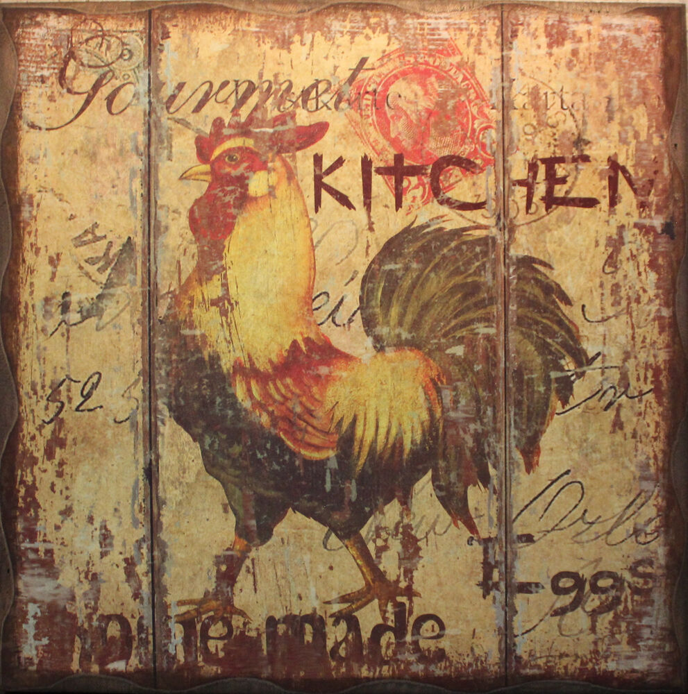 Ratings Feedback For Gavan Wood Painting Decorating: New Rooster Gourmet Kitchen Wooden Sign Country Farm