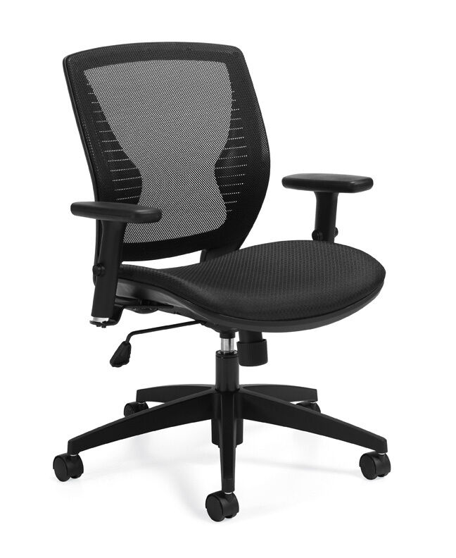 STYLISH BLACK AND GREY MESH BACK COMPUTER DESK OFFICE CHAIR WITH ADJUSTABLE A